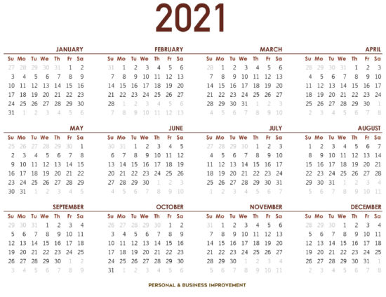 Kalender 2021- Personal & Business Improvement